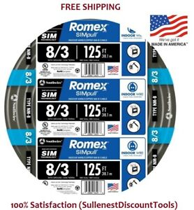 Southwire Romex Simpull 125 ft 8 3 Non metallic Wire 8 3 by the roll 63949202