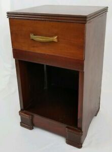 Vintage Art Deco Nightstand End Table Cabinet Mahogany Wood Wooden Mid Century