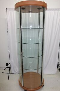 74 x 84 Cylindrical Glass Display Case With Lights And A Lock
