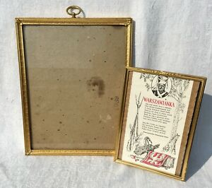 2 Vintage Ornate Gold Tone Embossed Metal Picture Frames Wall Mount Easel Stand
