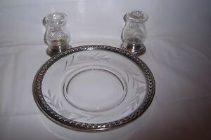 Vintage Sterling Silver And Etched Glass Salt Pepper Toast Bread Plate
