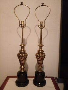 Vintage Rare Pair Stiffel Brass Table Lamps 33 Tall Hollywood Regency Lighting
