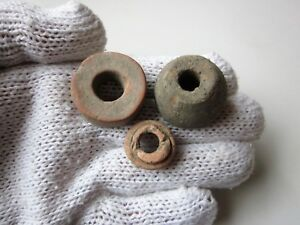 Lot Of 3 Ancient Roman Or Byzantine Ceramic Spindle Whorl