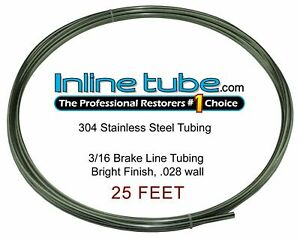 Stainless Steel Brake Line Tubing Kit 3 16 Od 25 Foot Coil Roll An 45 Flare Sae