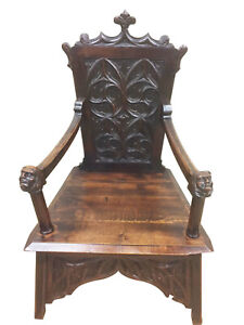 Fantastic Antique French Gothic Arm Chair Carved Faces Walnut 19th Century
