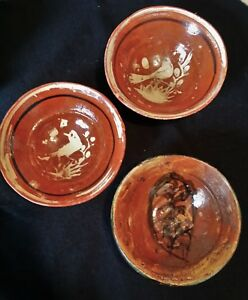 Mexican Redware Antique Bowlsset Of 3