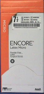 Bx50 5787004 Ansell Encore Microptic Latex Powder Free Surgical Gloves 7 5