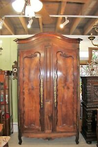 Large French Antique Walnut Louis Xv Armoire Wardrobe Cabinet