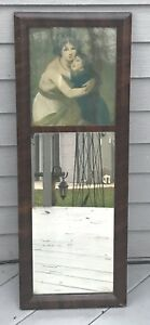 Antique Mahogany 2 Part Ogee Mirror Mother And Child 30x11 1 4