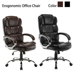 Office Desk Chair Black brown Luxury Executive High Back Pu Computer Boss Style