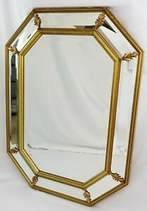 Vintage Octagon Wall Mirror Gold Gilt Wood Beveled Glass Hollywood Regency Italy