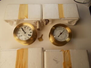 Schatz Ships Bell 8 Day 7 Jewels Clock And Barometer New Old Stock Nos