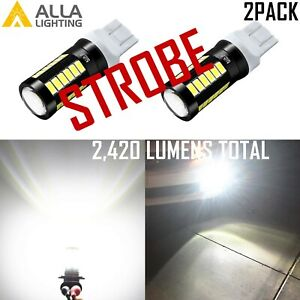 Alla Lighting White Led 7440 Strobe Flashing To Solid Reverse Backup Light Bulb