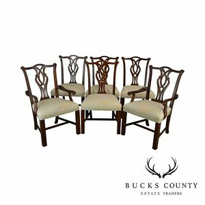 Henredon Polo Ralph Lauren Chippendale Style Set 6 Mahogany Dining Chairs