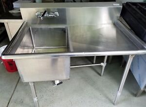 4 Ft Heavy Duty Stainless Steel 1 Comp Sink 46 x 30 Right Drainboard W Faucet