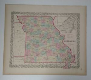 Antique Map Missouri 1856 Colton S Maps With An Inset Of St Louis