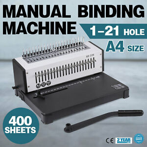 Steel Comb Coil Binding Machine A4 21 Holes Paper Puncher Home Book Paper Binder