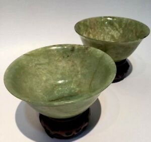 Antique Hand Carved Chinese Rice Bowl Translucent Spinach Jade