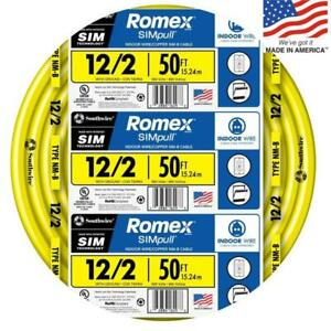 Southwire 12 2 W ground Romex Indoor Electrical Wire 50 Feet by the roll 12 2