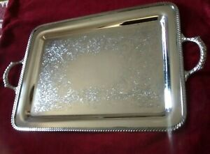 Wm Rogers 4091 Silverplated Waiter Butler Tray 21 X 15 1 2
