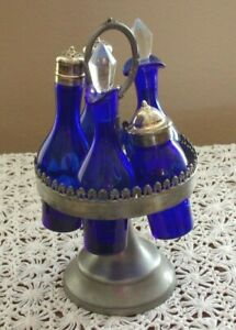Vintage Antique 5 Piece Cruet Castor Set Blue Orignal Glass