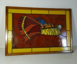 Vintage Stained Glass Framed Window Hanging Panel Insect Fly