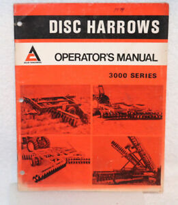 Allis chalmers 3000 Series Disc Harrows Operator s Manual