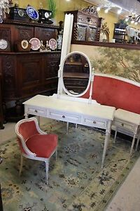 French Painted Antique White Small Mirrored Dresser Bedroom Vanity With Chair