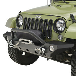 Front Bumper Black Textured W Winch Plate Fit For 07 18 Jeep Wrangler Jk