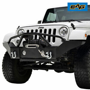 Eag Black Front Bumper Full Width With Winch Plate For 07 18 Jeep Wrangler Jk