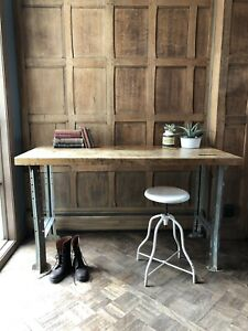 Vintage Industrial Workbench Table Butcher Block Work Bench Industrial Desk