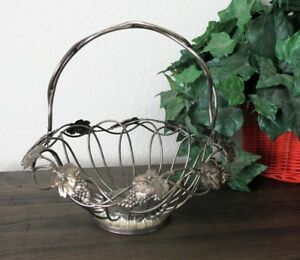 Antique Victorian Silver Plate Brides Basket Grapes Footed Metal Wire Retro Rare