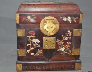 China Redwood Wood Inlay Shell Coral Gem Flower Bird Statue Drawer Jewelry Box