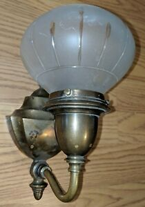 Antique Bradley Hubbard Wall Sconce Frosted Cut Glass Shade