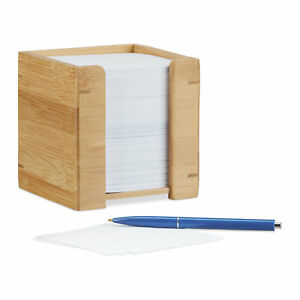 Bamboo Memo Note Dispenser Wooden Sticky Note Pad Holder 900 pc Desk Organizer