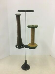 Vintage Antique Thread String Cord Cast Iron Double Spool Stand Holder Primitive