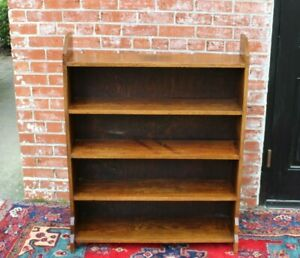 English Oak Antique Arts Crafts Open Bookcase Living Room Furniture