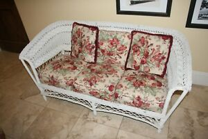 Antique Wicker Couch Rocker Chair With Cushion Pillows Xcellnt Condition