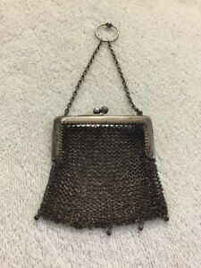 Antique Victorian Sterling Silver Mesh Ring Purse 53 Gr