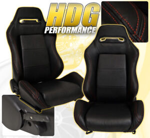 Universal Reclinable Bucket Seats Chairs Pvc Leather Red Stitch rail Black