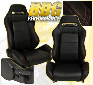 Pair L r Reclinable Bucket Seats Chairs Pvc Leather Racing Slider Pairs Black