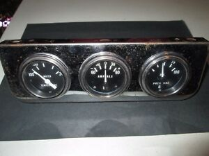 Stewart Warner 3 Gauge Set In Dash Mount Water Temp Amp And Oil Pressure Gauges