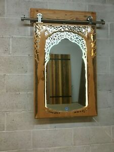 Artistic Wood Carved Glass Etch Designer Hanging Wall Mirror With Lighting