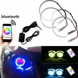 2 Sets Rgb Led Light Demon Eye Halo Ring Headlight Projector Lens Phone Remote