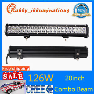 20inch 126w Cree Led Work Light Bar Spot Flood Driving Truck Lamp 10500lm 12v24v
