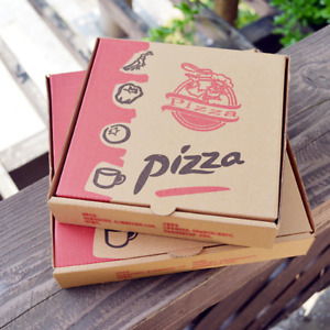 100x Take Away Fast Food Brown Printed Colour Pizza Box Postal Kraft Bakery Box