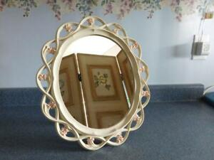 Vintage Wall Mirror Oval Cream Pink Flowers Syroco Ornate Cottage Look
