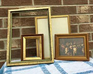 Lot Of 4 Antique Vintage 1950 S 1960 S Gold Finish All Wood Picture Frames
