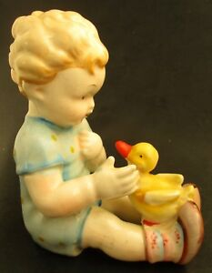 Vintage Cute Ceramic Sitting Toddler Boy With Duck Piano Baby Figurine Japan