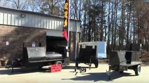 Bbq Flag Banner Holder Mobile Kitchen Smoker Grill Trailer Food Truck Business